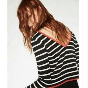 ZARA KNIT Striped V Back Cropped Shirt large